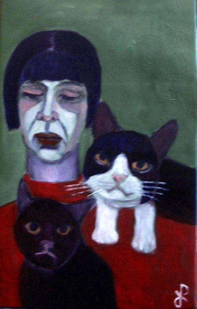 Selbstportrait mit Katzen